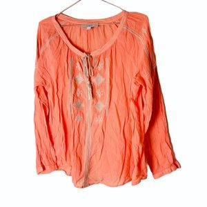 EUC Ann Taylor Loft Orange Embroidered Tunic Top S
